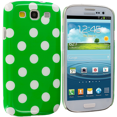 Samsung Galaxy S3 Green / White Polka Dot Hard Rubberized Back Cover Case