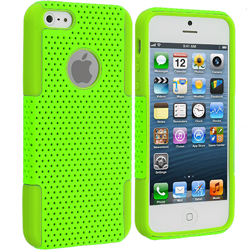 Apple iPhone 5/5S/SE Neon Green / Neon Green Hybrid Mesh Hard/Soft Case Cover