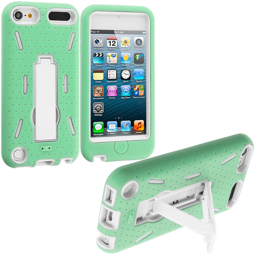 Apple iPod Touch 5th 6th Generation Mint Green / White Hybrid Heavy Duty Hard/Soft Case Cover with Stand