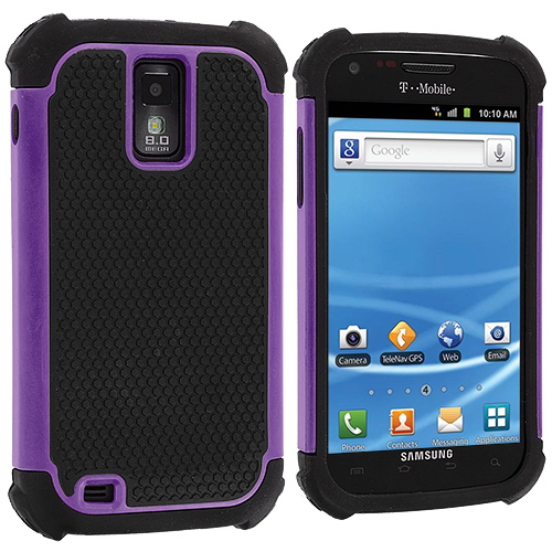 Samsung Hercules T989 T-Mobile Galaxy S2 Purple Hybrid Rugged Hard/Soft Case Cover