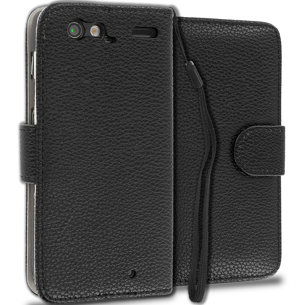 Motorola Droid Razr XT912 Black Leather Wallet Pouch Case Cover with Slots