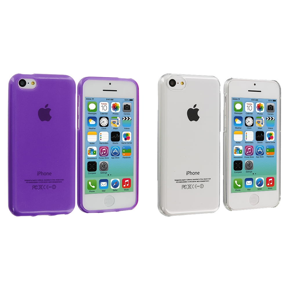 Apple iPhone 5C 2 in 1 Combo Bundle Pack - Clear Purple Transparent Crystal Hard Back Cover Case