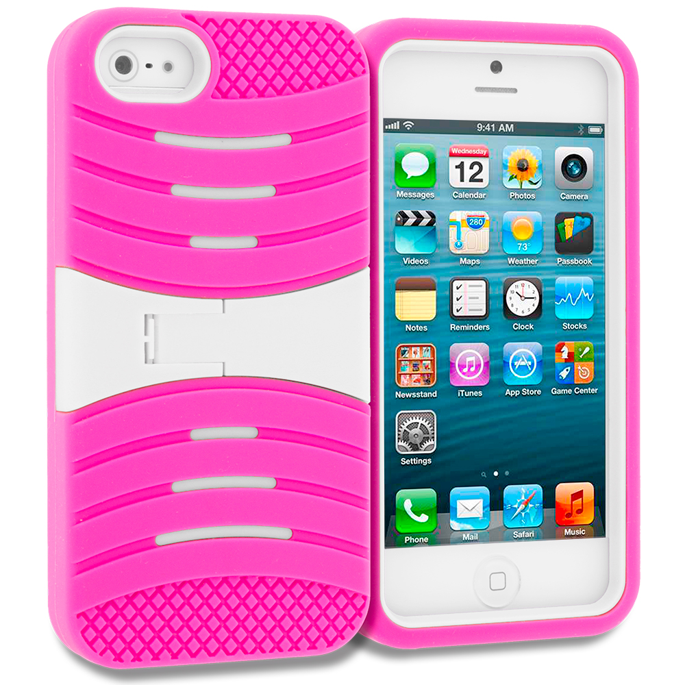 Apple iPhone 5/5S/SE Combo Pack : Baby Blue / Purple Hybrid Hard/Silicone Case Cover with Stand : Color Hot Pink / White