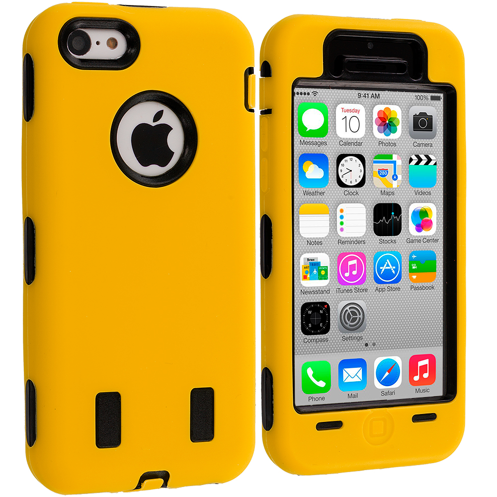 Apple iPhone 5C 2 in 1 Combo Bundle Pack - Red / Yellow Hybrid Deluxe Hard/Soft Case Cover : Color Yellow / Black