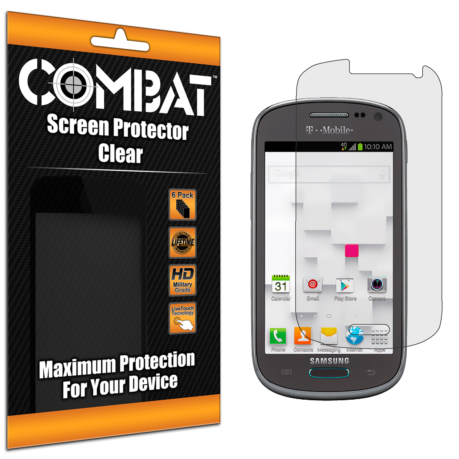 Samsung Galaxy Exhibit T599 Combat 6 Pack HD Clear Screen Protector