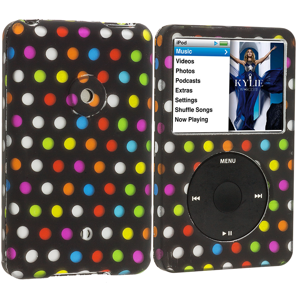 Apple iPod Classic Colorful dots on Black Hard Rubberized Design Case Cover