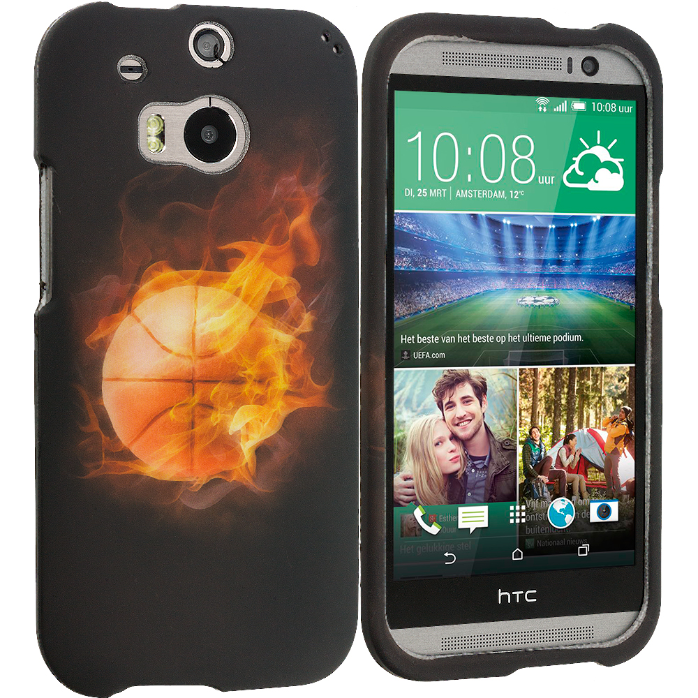HTC One M8 Flaming Basketball 2D Hard Rubberized Design Case Cover