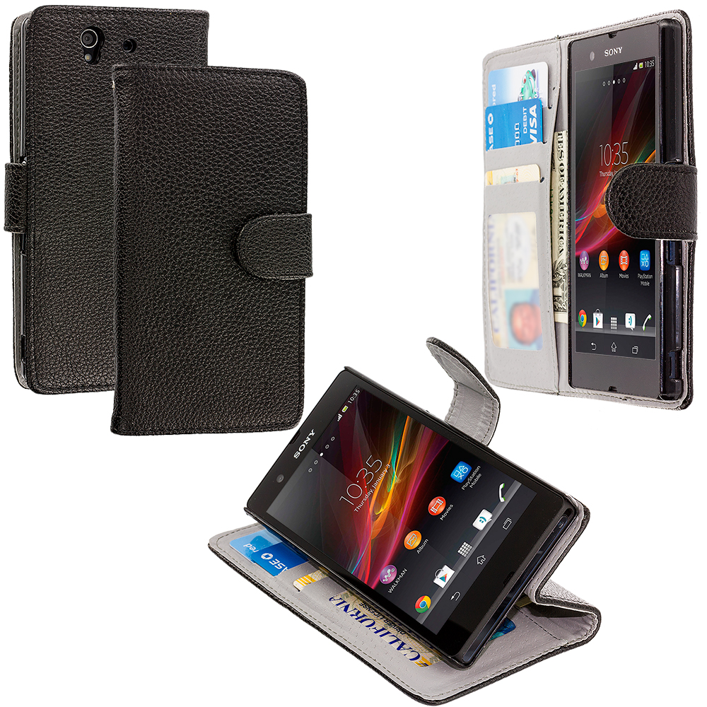Sony Xperia Z Black Leather Wallet Pouch Case Cover with Slots