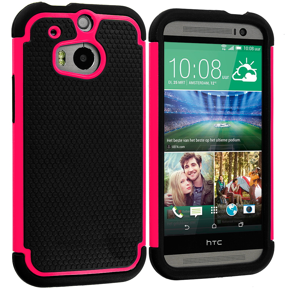 HTC One M8 Black / Hot Pink Hybrid Rugged Hard/Soft Case Cover