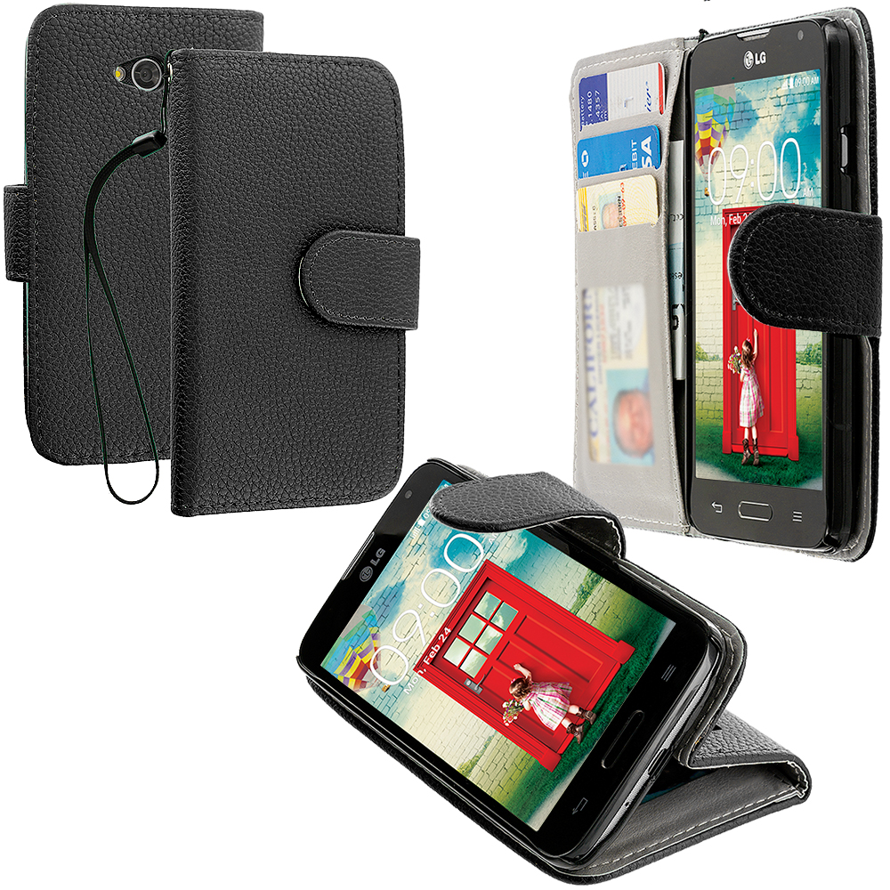 LG Optimus L70 Exceed 2 Realm LS620 Black Leather Wallet Pouch Case Cover with Slots