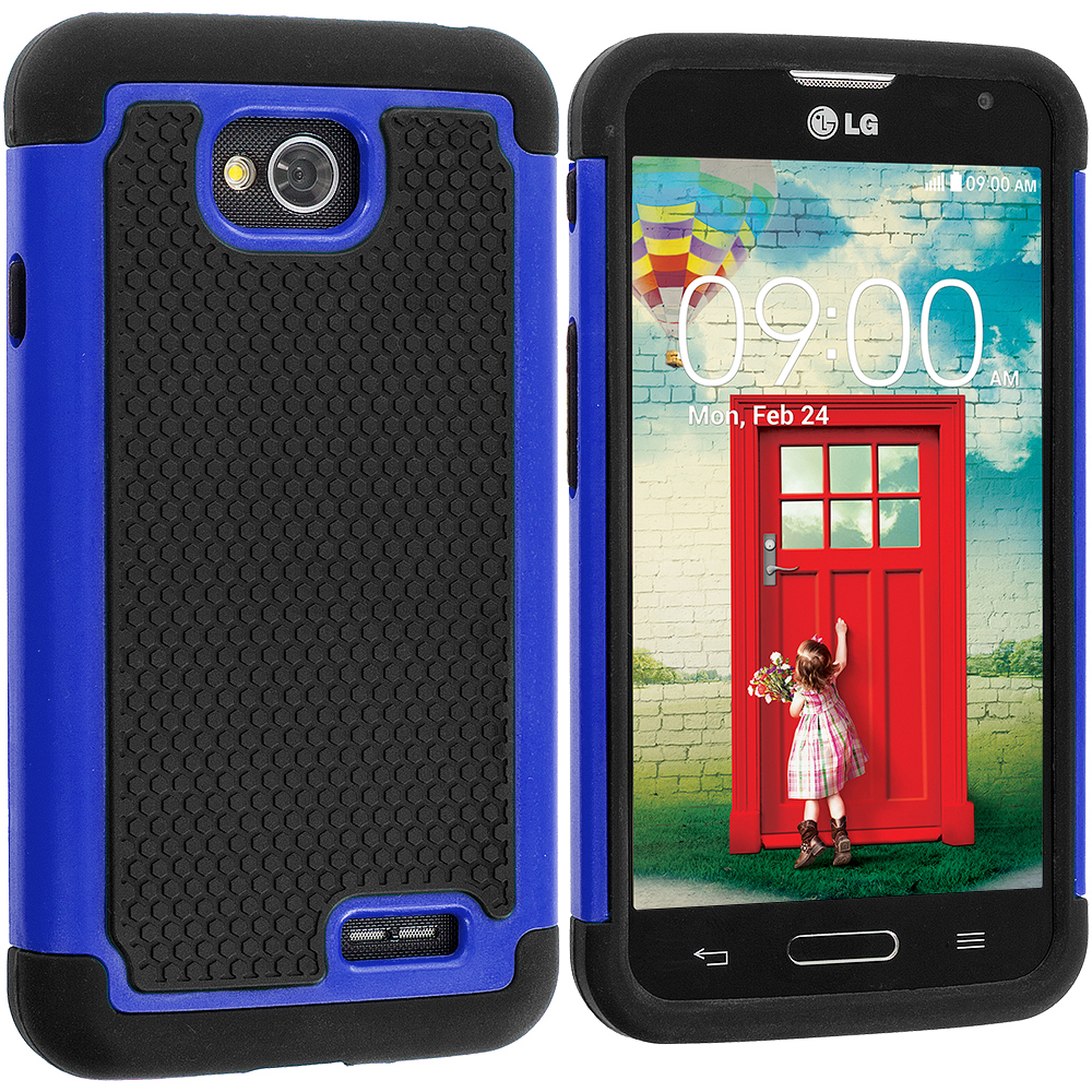 LG Optimus L70 Exceed 2 Realm LS620 Black / Blue Hybrid Rugged Hard/Soft Case Cover