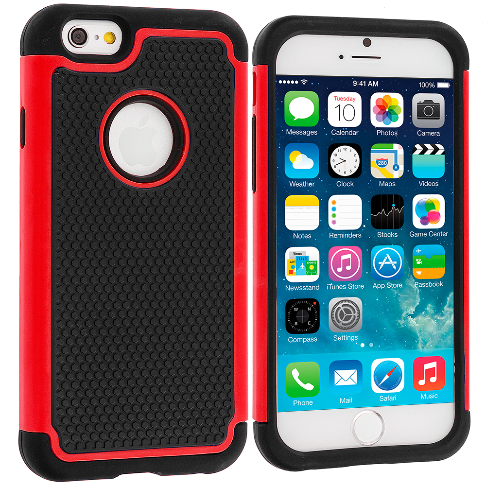 Apple iPhone 6 6S (4.7) Black / Red Hybrid Rugged Hard/Soft Case Cover