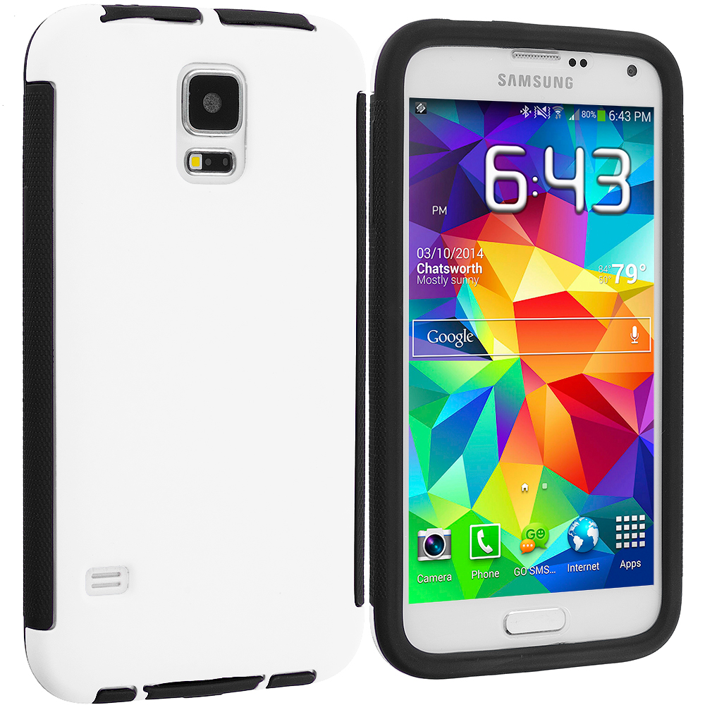 Samsung Galaxy S5 Black / White Hybrid Hard TPU Shockproof Case Cover With Built in Screen Protector