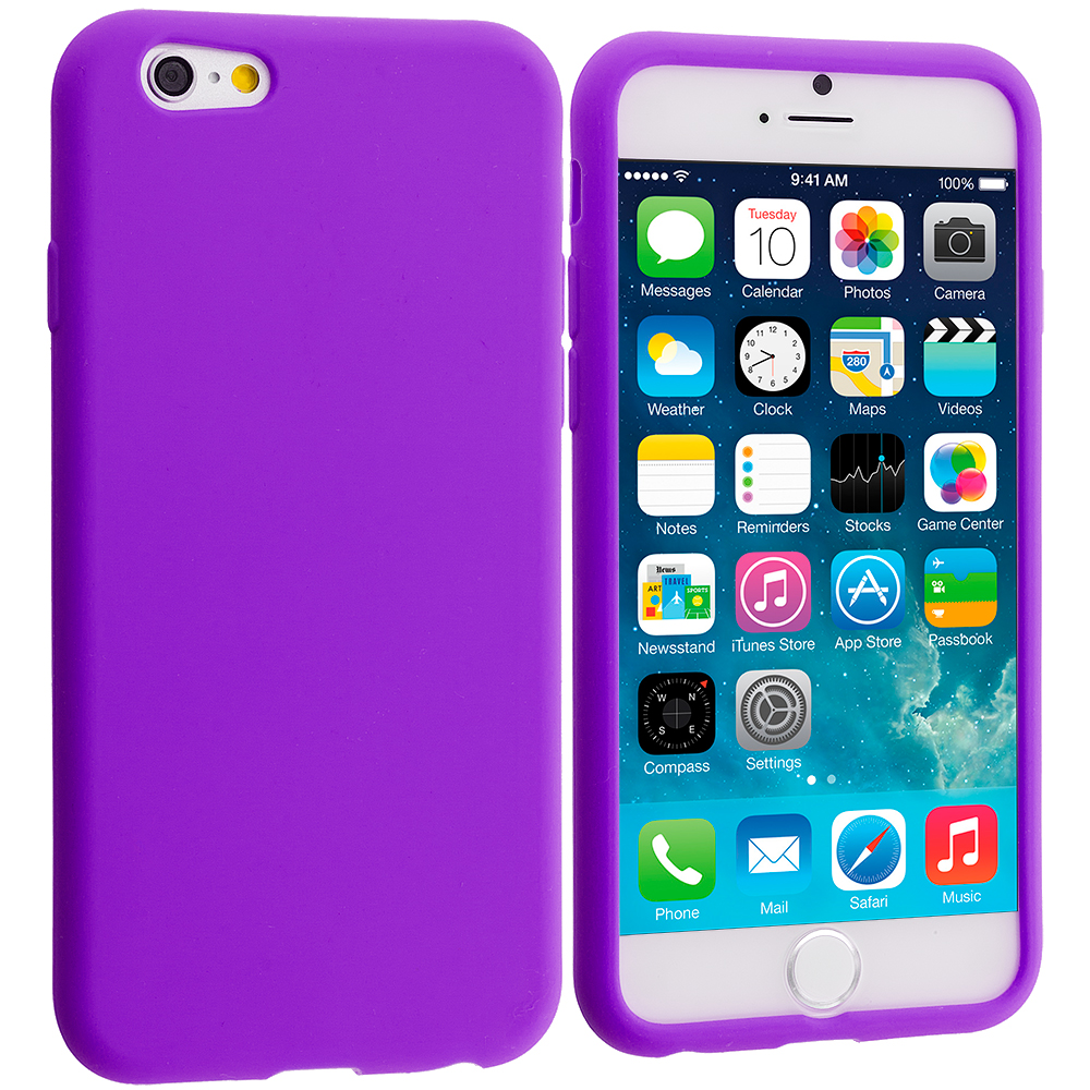 Apple iPhone 6 Plus 6S Plus (5.5) 5 in 1 Combo Bundle Pack - Silicone Soft Skin Rubber Case Cover : Color Purple