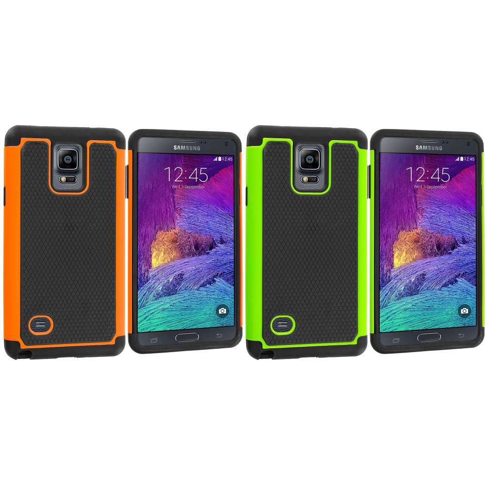 Samsung Galaxy Note 4 2 in 1 Combo Bundle Pack - Green Orange Hybrid Rugged Grip Shockproof Case Cover