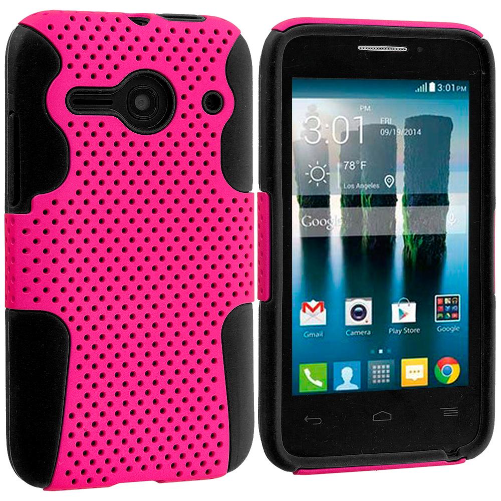 Alcatel One Touch Evolve 2 Black / Hot Pink Hybrid Mesh Hard/Soft Case Cover