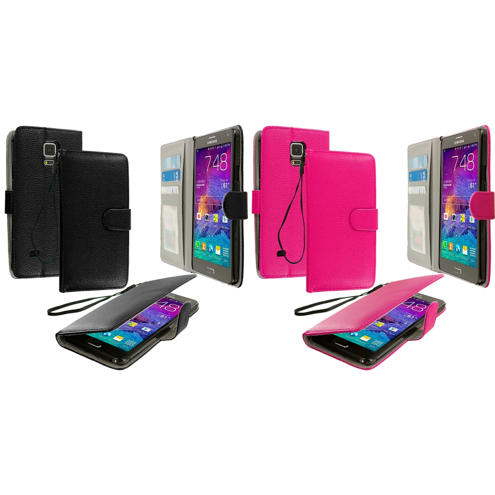 Samsung Galaxy Note 4 2 in 1 Combo Bundle Pack - Black Pink Leather Wallet Pouch Case Cover with Slots