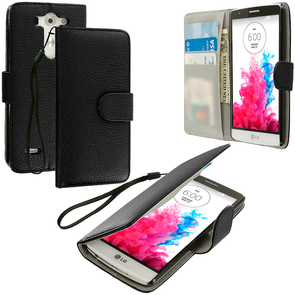 LG G3 Vigor D725 G3s Black Leather Wallet Pouch Case Cover with Slots