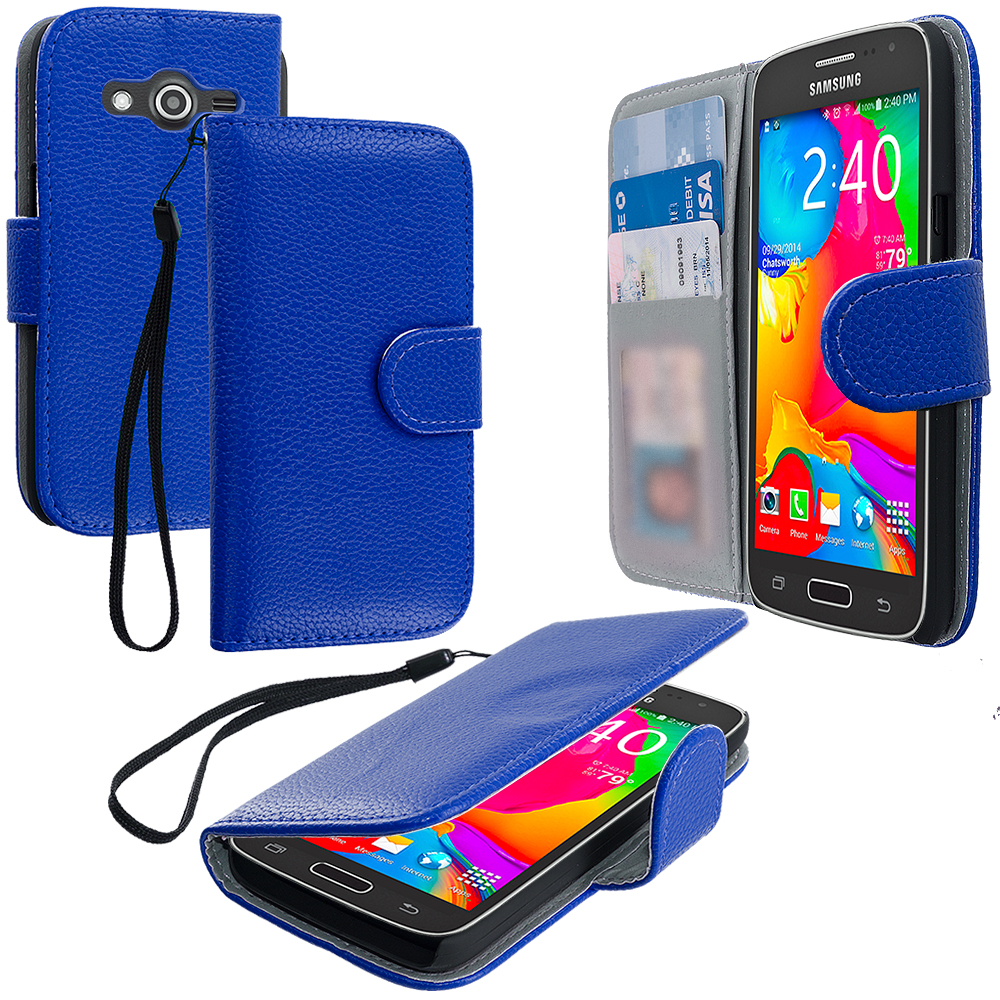 Samsung Galaxy Avant G386 Blue Leather Wallet Pouch Case Cover with Slots