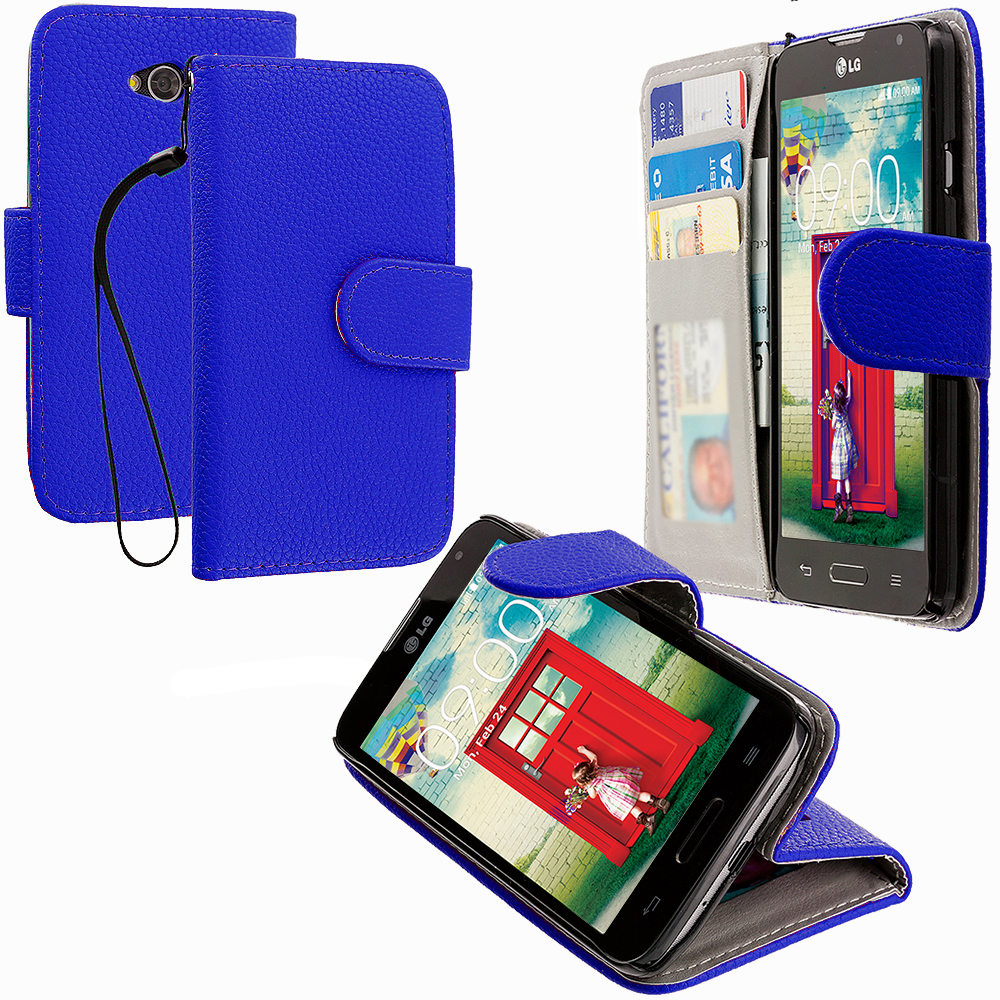 LG Optimus L70 Blue Leather Wallet Pouch Case Cover with Slots