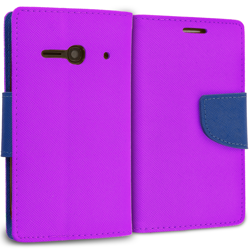 Alcatel One Touch Evolve 2 Purple / Navy Blue Leather Flip Wallet Pouch TPU Case Cover with ID Card Slots