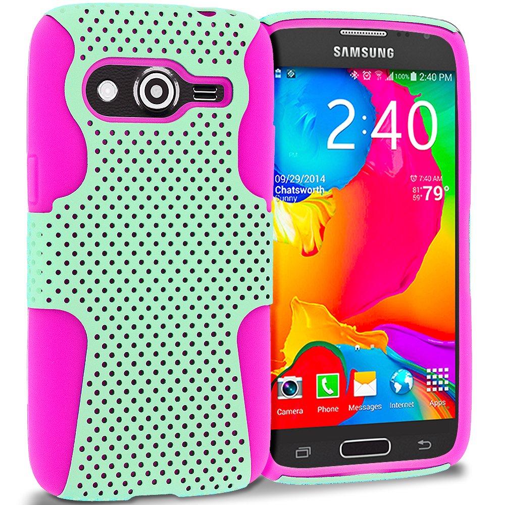 Samsung Galaxy Avant G386 Hot Pink / Mint Green Hybrid Mesh Hard/Soft Case Cover