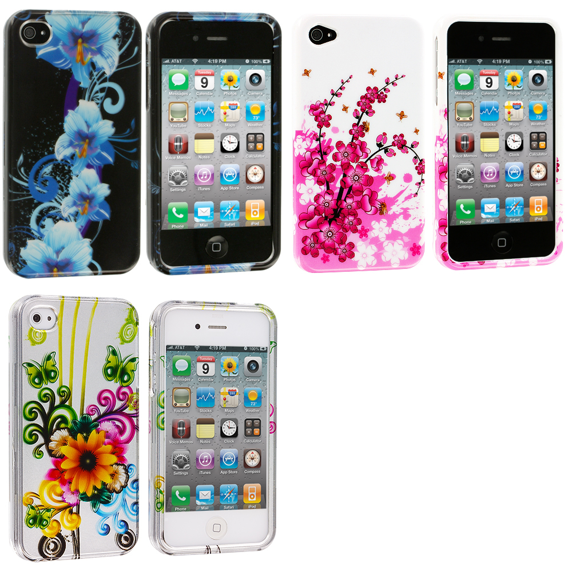 Apple iPhone 4 / 4S 3 in 1 Combo Bundle Pack - Flower Design Crystal Hard Case Cover