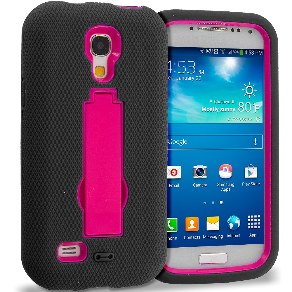 Samsung Galaxy S4 Mini i9190 Black / Hot Pink Hybrid Heavy Duty Hard Soft Case Cover with Kickstand