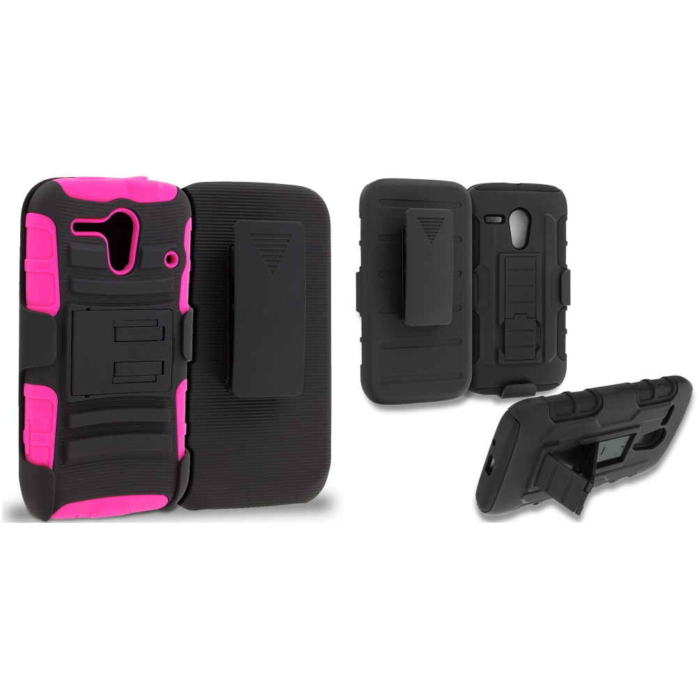 Motorola Moto G 2 in 1 Combo Bundle Pack - Hot Pink / Black Hybrid Heavy Duty Rugged Case Cover with Belt Clip Holster
