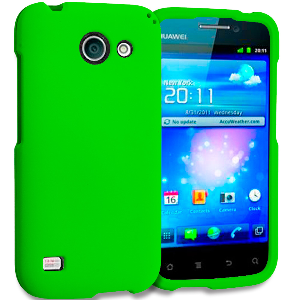 Huawei Tribute Fusion 3 Y536A1 Neon Green Hard Rubberized Case Cover