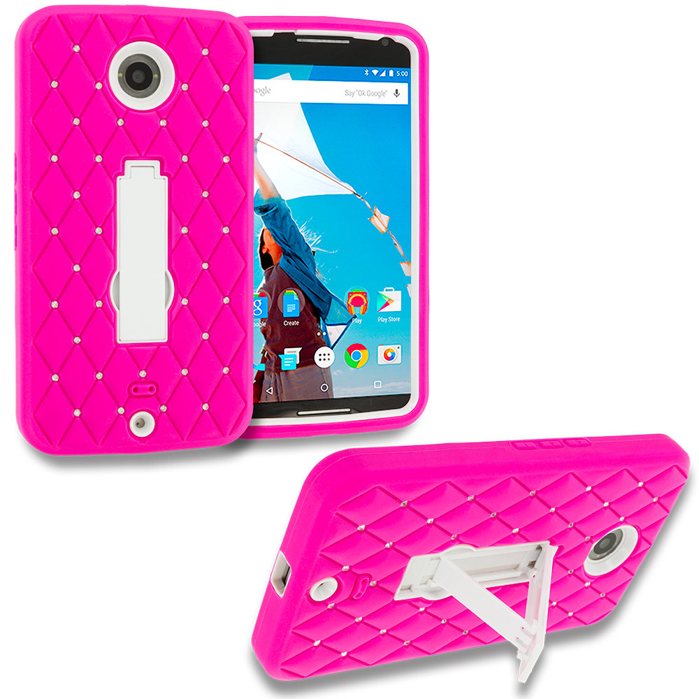 Motorola Google Nexus 6 Hot Pink / White Hybrid Diamond Bling Hard Soft Case Cover with Kickstand