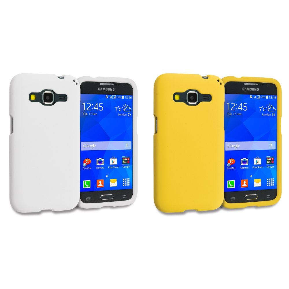 Samsung Galaxy Prevail LTE Core Prime G360P / Prevail LTE 2 in 1 Combo Bundle Pack - White Yellow Hard Rubberized Case Cover