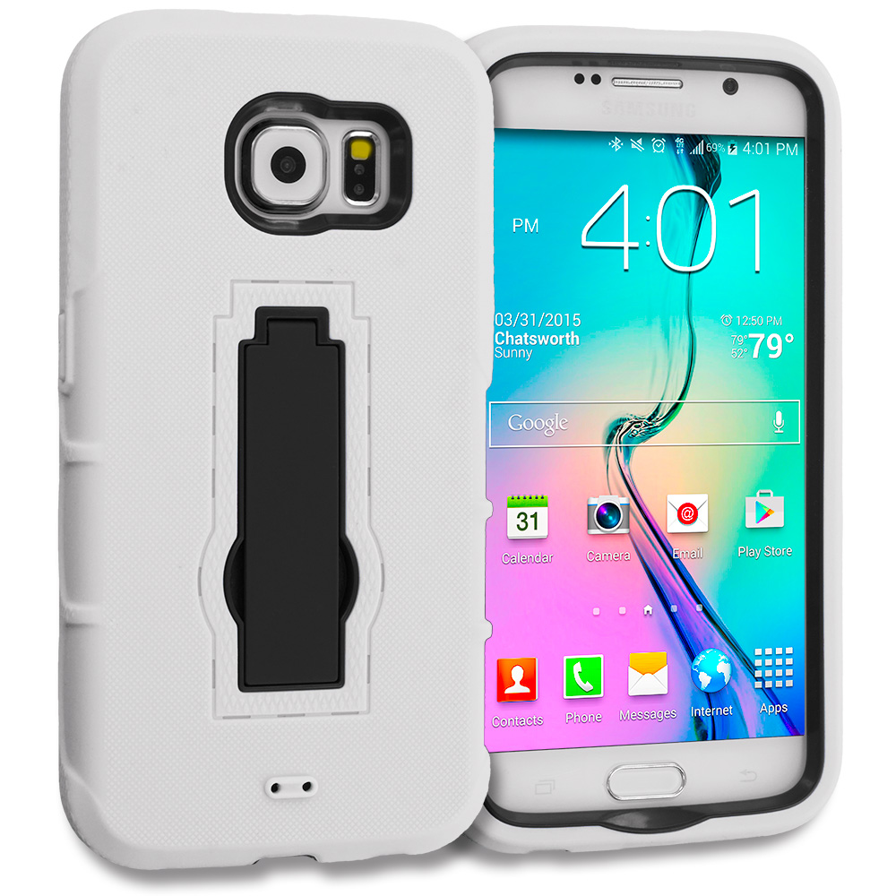 Samsung Galaxy S6 Combo Pack : Black / Black Hybrid Heavy Duty Hard Soft Case Cover with Kickstand : Color White / Black