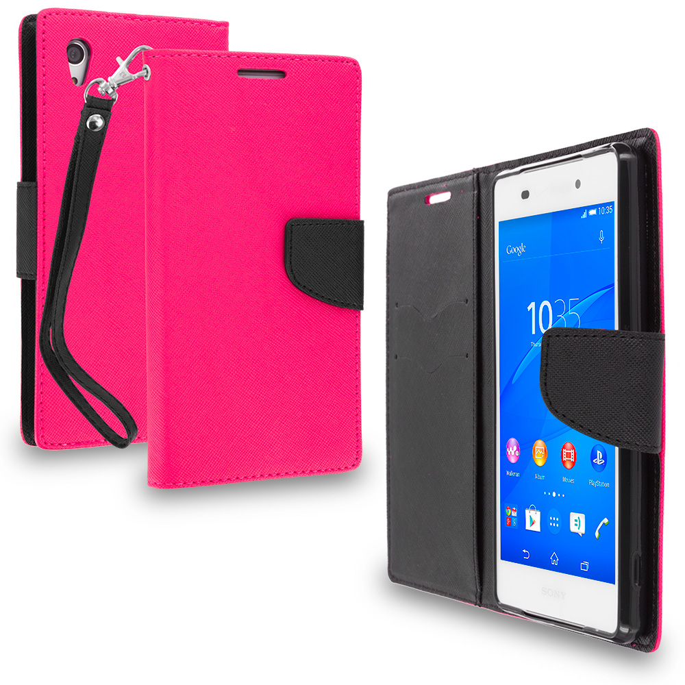 Sony Xperia Z3v Verizon Hot Pink / Black Leather Flip Wallet Pouch TPU Case Cover with ID Card Slots