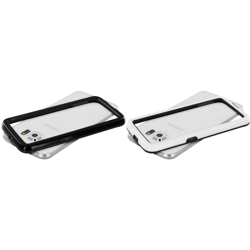 Samsung Galaxy S6 Combo Pack : Black / Black Hybrid TPU Bumper Case Cover