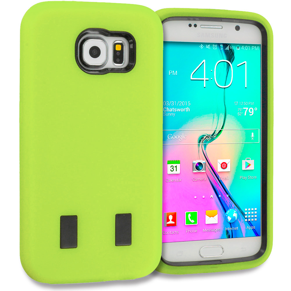Samsung Galaxy S6 Combo Pack : Baby Blue / Black Hybrid Deluxe Hard/Soft Case Cover : Color Lime Green / Black