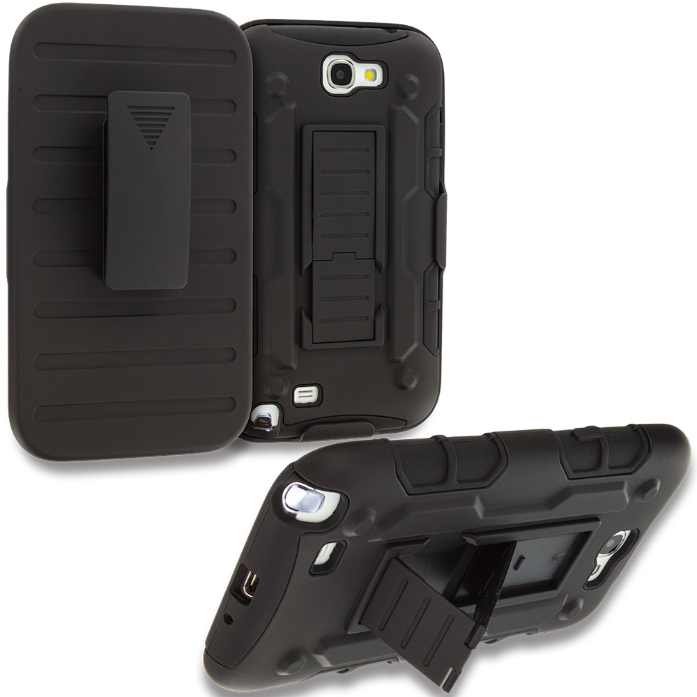 Samsung Galaxy Note 2 II N7100 Black Hybrid Rugged Robot Armor Heavy Duty Case Cover with Belt Clip Holster