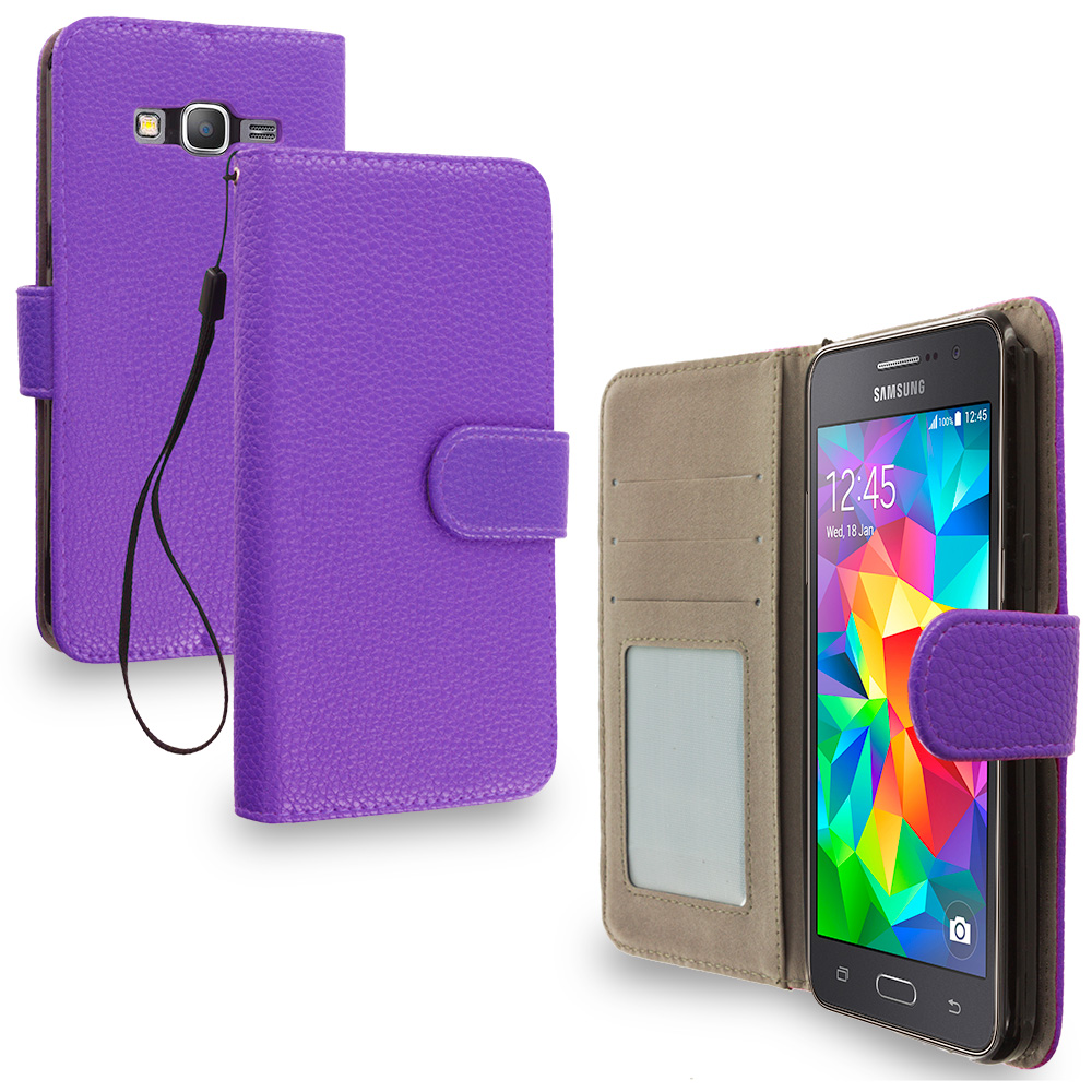 Samsung Galaxy Grand Prime LTE G530 Purple Leather Wallet Pouch Case Cover with Slots