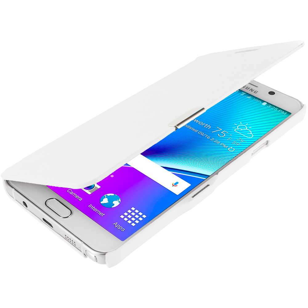 Samsung Galaxy Note 5 2 in 1 Combo Bundle Pack - Magnetic Flip Wallet Case Cover Pouch : Color White