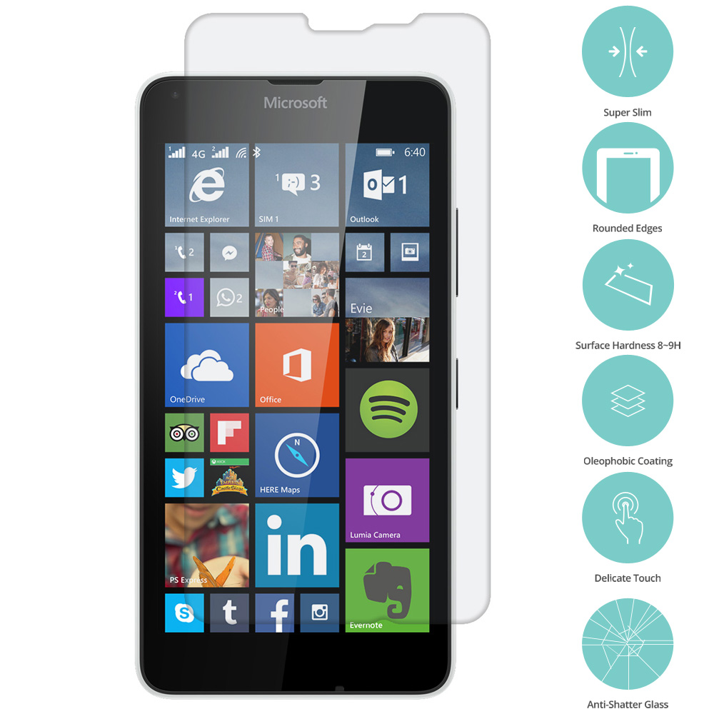 Microsoft Lumia 640 XL Clear Tempered Glass Film Screen Protector Clear
