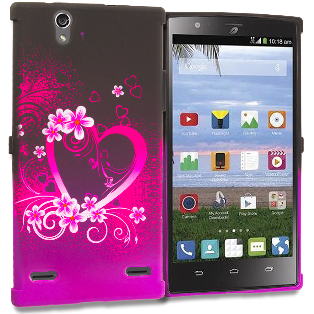 ZTE Lever Z936 Purple Love TPU Design Soft Rubber Case Cover