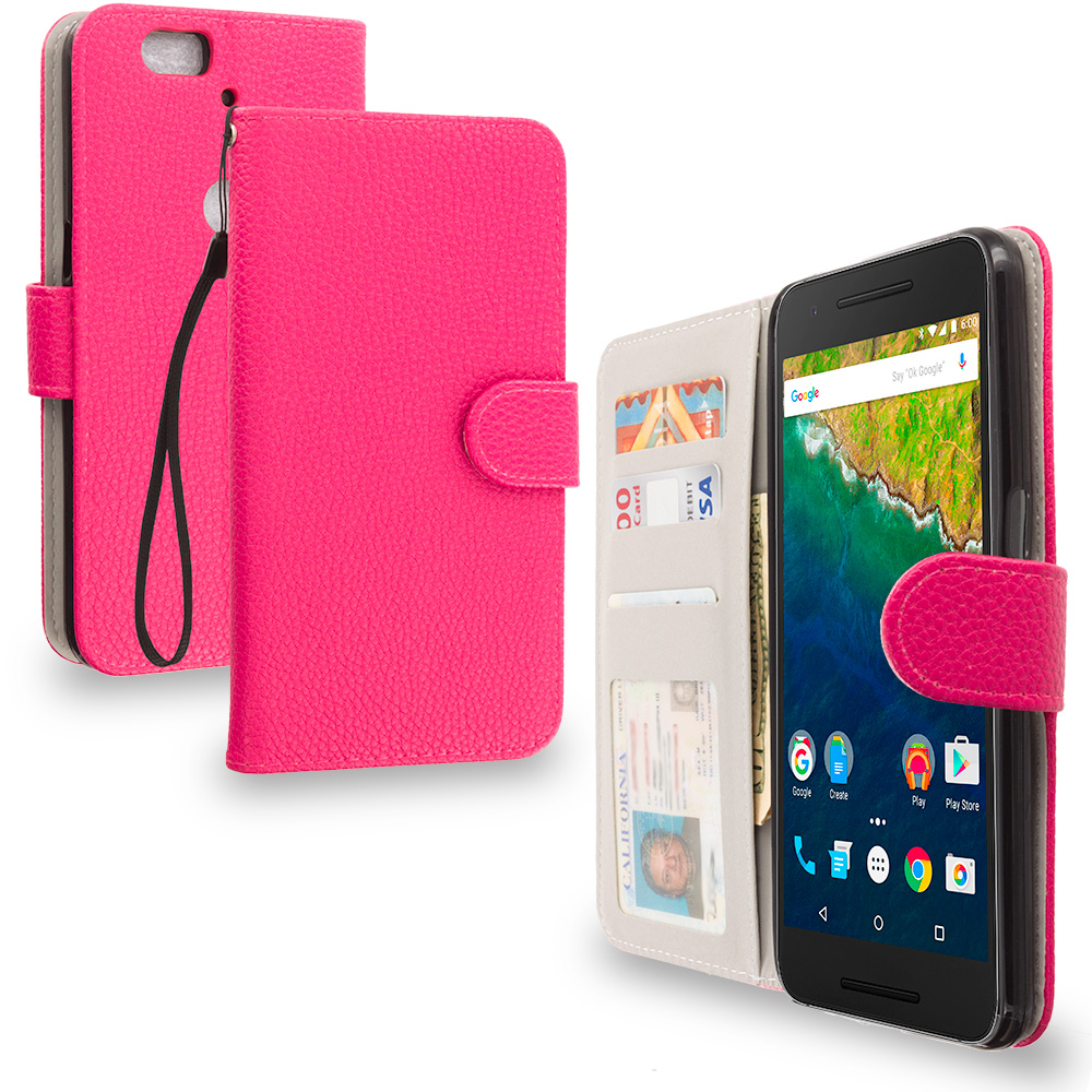 Huawei Google Nexus 6P Hot Pink Leather Wallet Pouch Case Cover with Slots