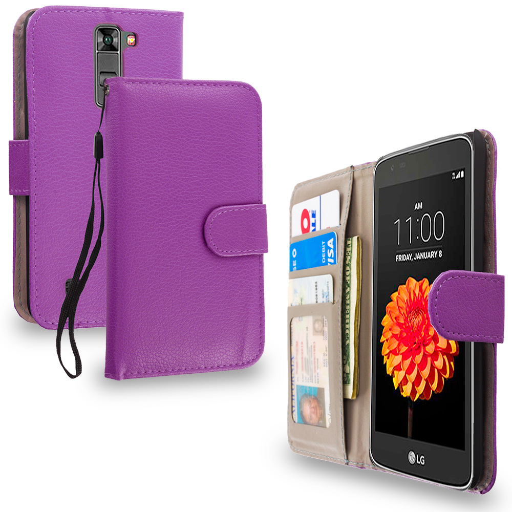 LG Tribute 5 K7 Purple Leather Wallet Pouch Case Cover with Slots