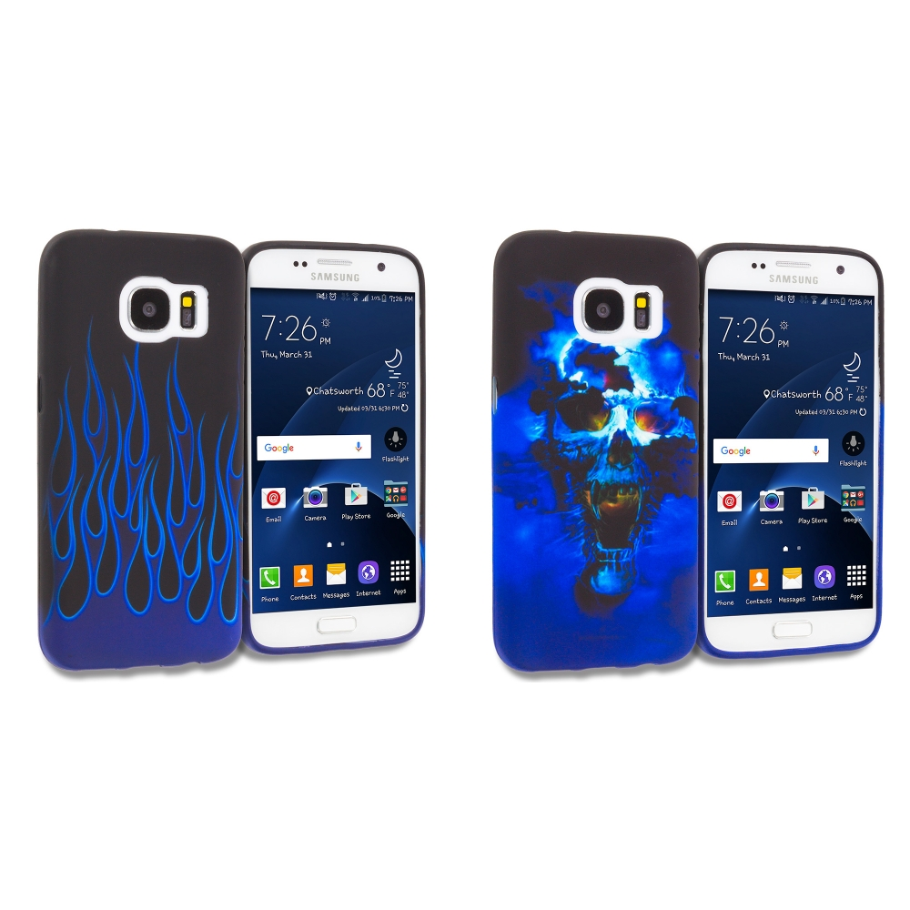 Samsung Galaxy S7 Combo Pack : Blue Skulls TPU Design Soft Rubber Case Cover