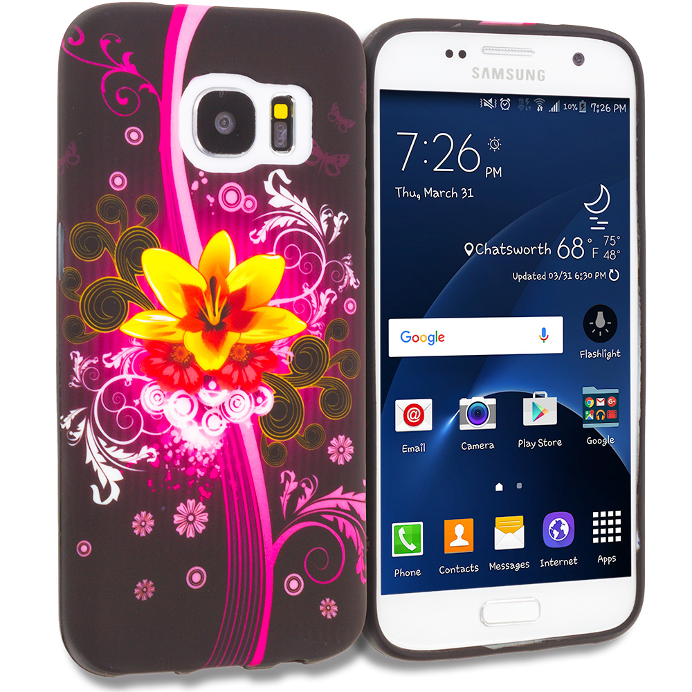 Samsung Galaxy S7 Combo Pack : Hot Pink Leopard TPU Design Soft Rubber Case Cover : Color Pink Flower Explosion