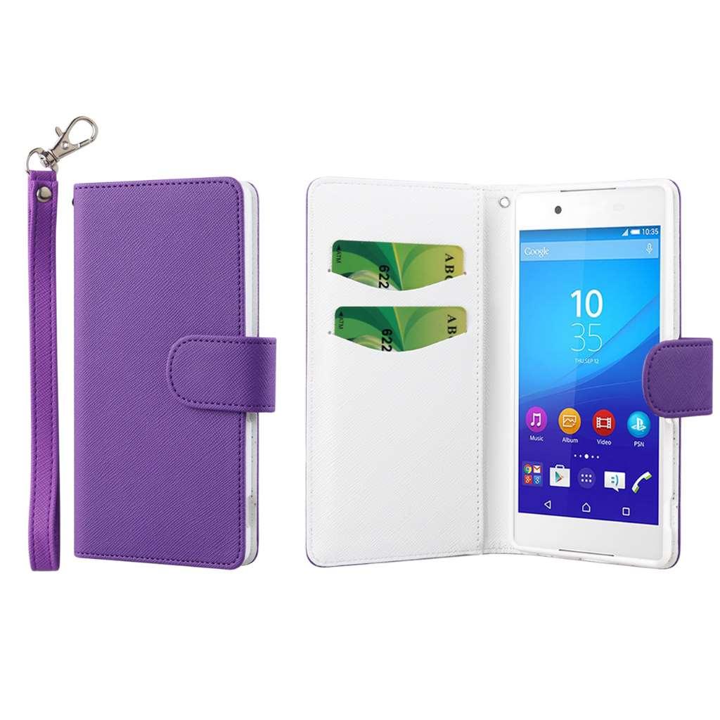 Sony Xperia Z4 - Purple MPERO FLEX FLIP Wallet Case Cover