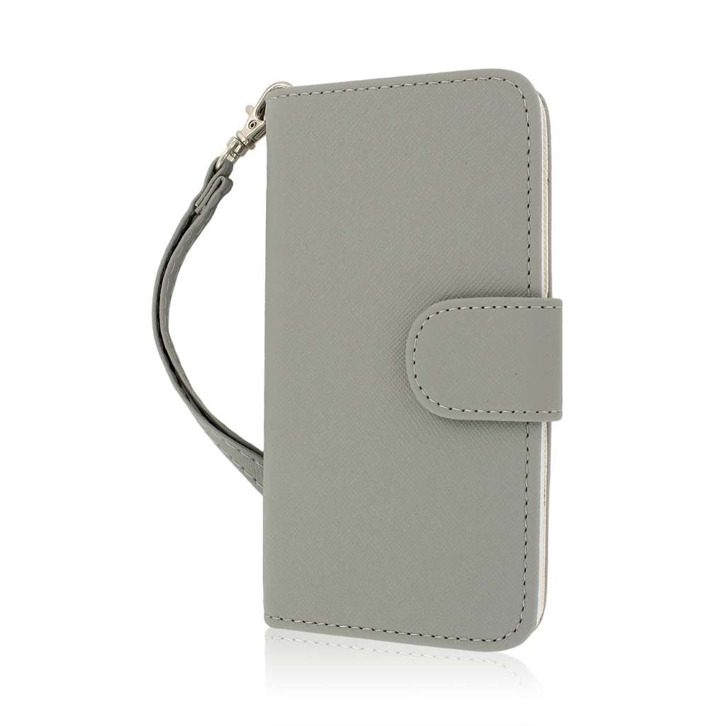 HTC One - Gray MPERO FLEX FLIP Wallet Case Cover
