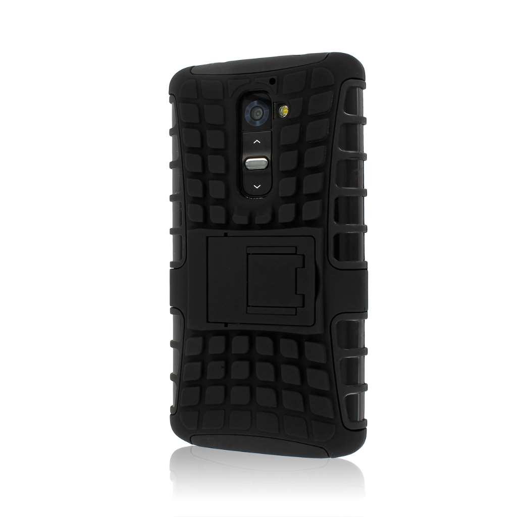 LG G2 D800 D801 LS980 - Black MPERO IMPACT SR - Kickstand Case Cover