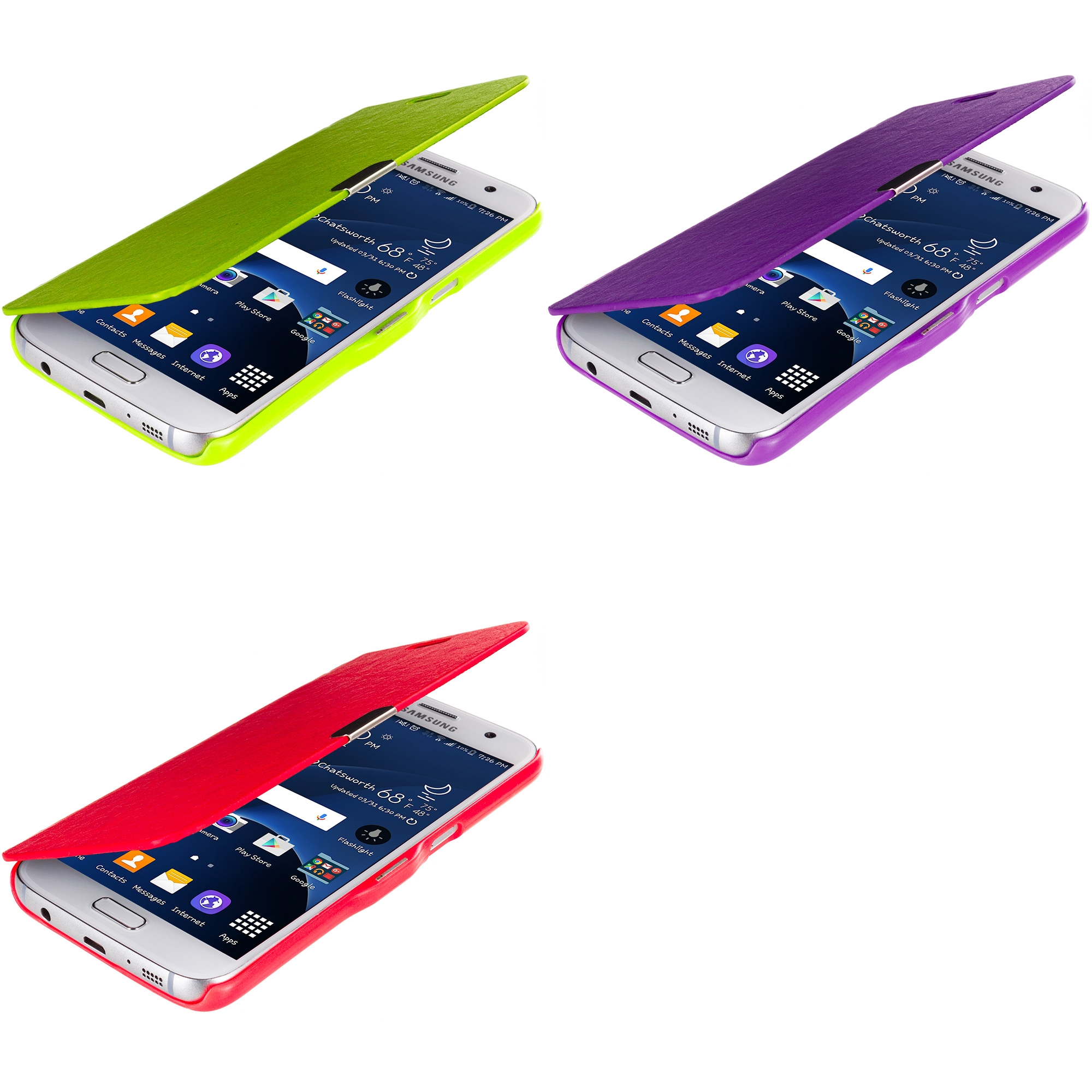 Samsung Galaxy S7 Combo Pack : Neon Green Magnetic Flip Wallet Case Cover Pouch