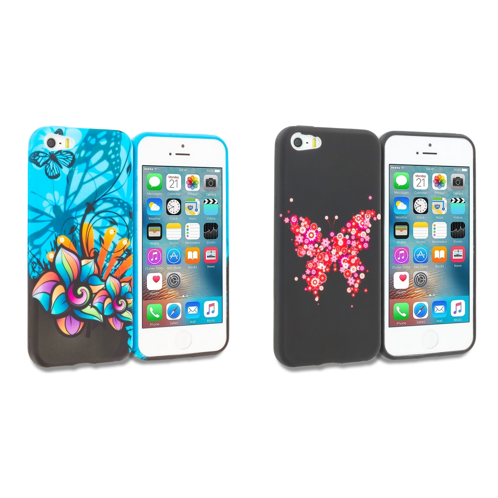 Apple iPhone 5/5S/SE Combo Pack : Butterfly Flower on Blue TPU Design Soft Rubber Case Cover